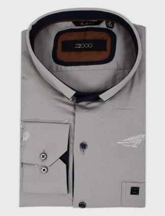 Zillian printed cotton fabric grey shirt