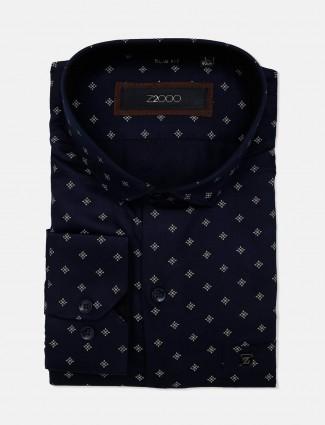 Zillian printed navy cotton formal mens shirt