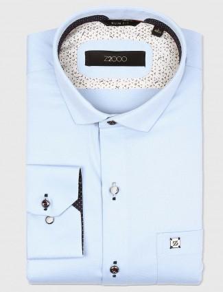 Zillian sky blue hue solid shirt
