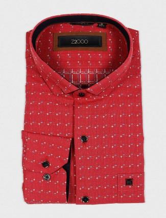 Zillian solid maroon color cotton shirt