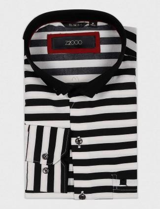 Zillian white and black stripe pattern shirt
