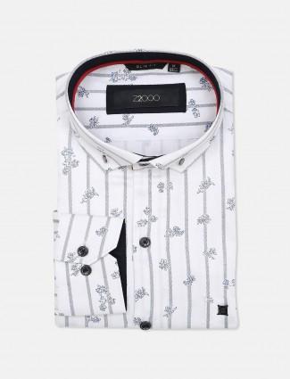 Zillian white printed formal shirt