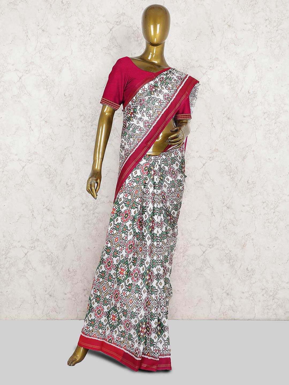 Off white color patola silk pretty saree - G3-WSA37306   G3fashion com