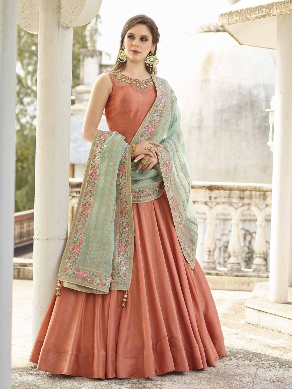 fa254c91b6 Orange hue cotton silk floor length anarkali suit - G3-WSS12884 ...