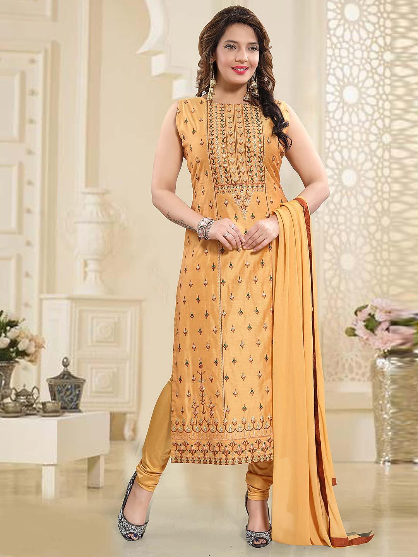 66bf96be6e Peach color round neck cotton silk punjabi salwar suit - G3 ...