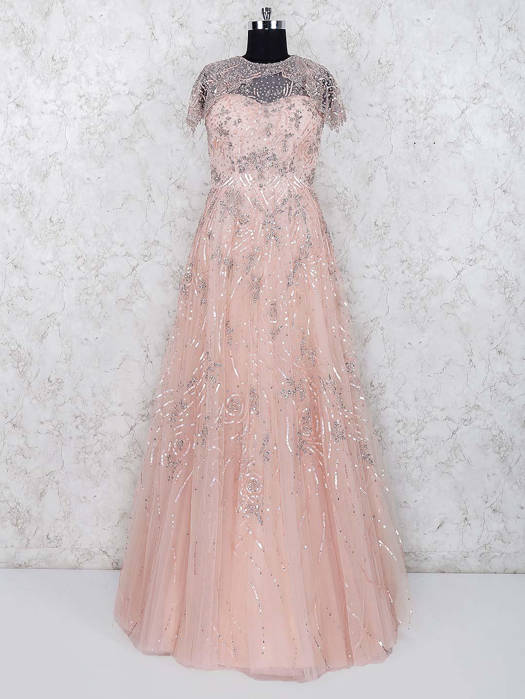 Peach color net fabric party wear lehenga choli G3 WGO1699 |