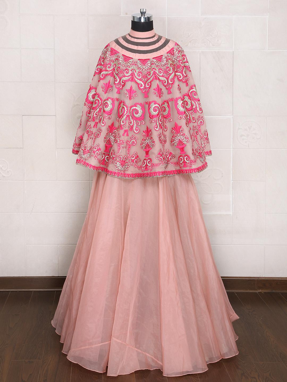 0820b8501c Plain designer cape style lehenga choli in silk fabric - G3-WLC1266 ...