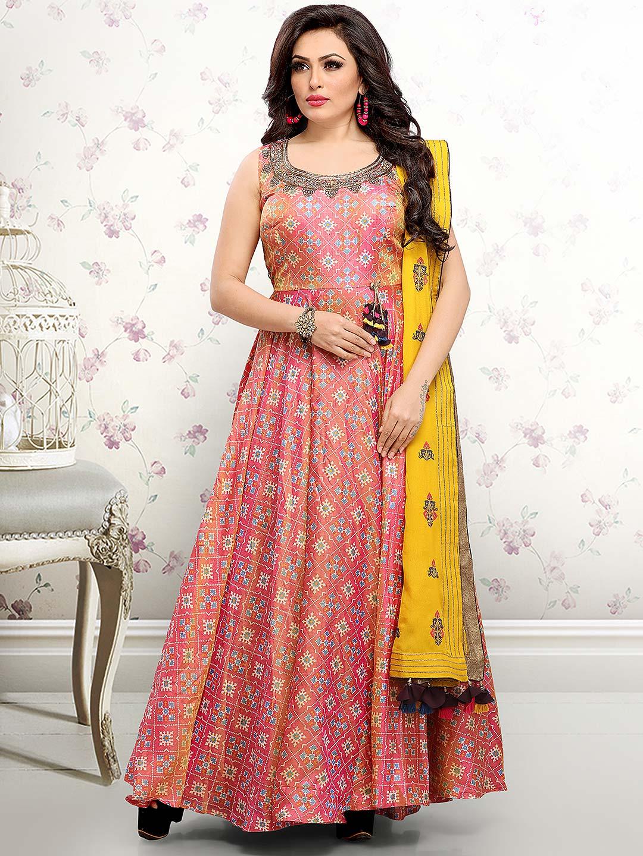 8782f9d306 Pretty pink floor length anarkali salwar suit in cotton silk - G3 ...
