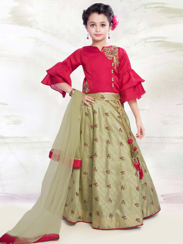 fa7ddd6dba Red and light green hued designer lehenga choli - G3-GCS0339 ...