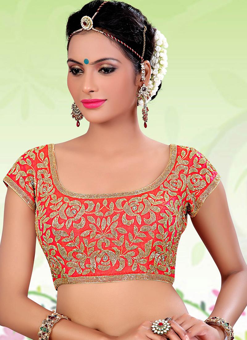c660dff54a3452 Red designer raw silk readymade blouse - G3-RB0117   G3fashion.com