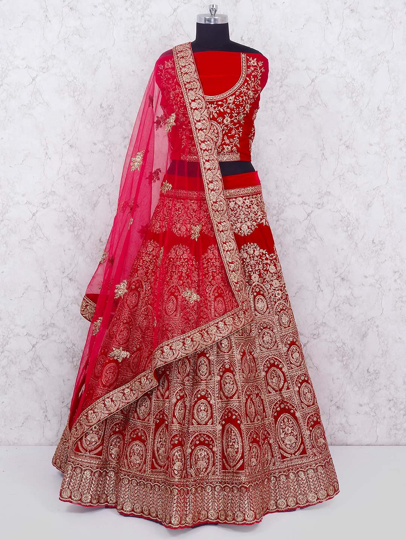 bf0b43eae0 Red hue velvet bridal semi stitched lehenga choli - G3-WLC4011 ...