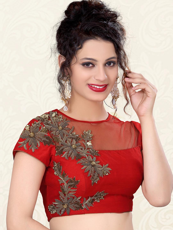 52cba47f62 Red nice raw silk designer ready made blouse - G3-RB0371 ...