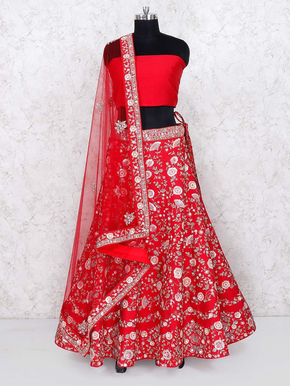 e46429e980 Red raw silk bridal wear semi stitched lehenga choli - G3-WLC4837 ...
