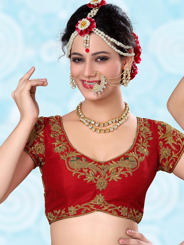 ed1b77b42041a3 Red raw silk designer ready made blouse - G3-RB0366   G3fashion.com