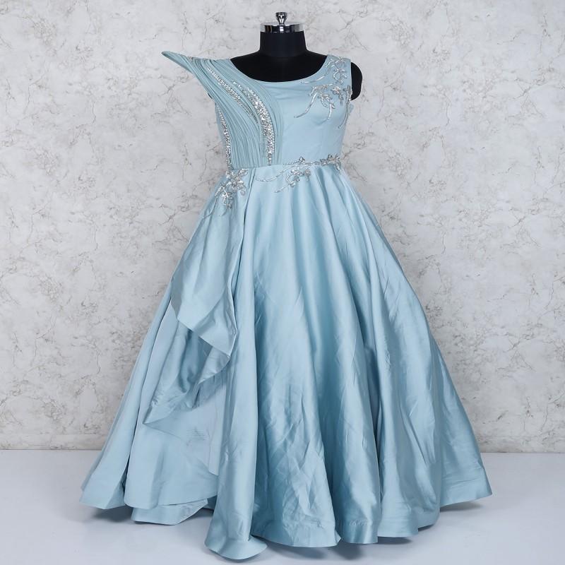 Satin Fabric Sky Blue Party Wear Gown G3 Wgo1737 G3fashion
