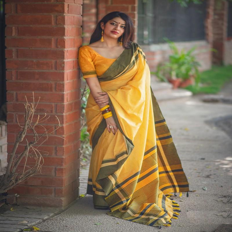4638cc09b1d825 Yellow color cotton fabric simple saree - G3-WSA30780 | G3fashion.com