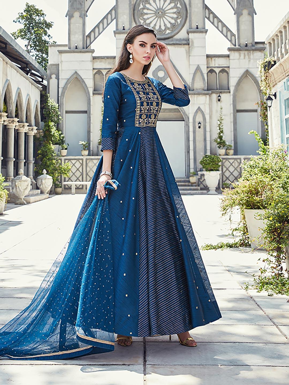 b422a4b02f Royal blue raw silk anarkali suit - G3-WSS15359 | G3fashion.com