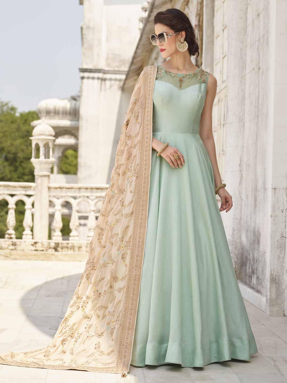 Sea Green Cotton Silk Festive Anarkali Suit G3 Wss12883 G3fashion Com