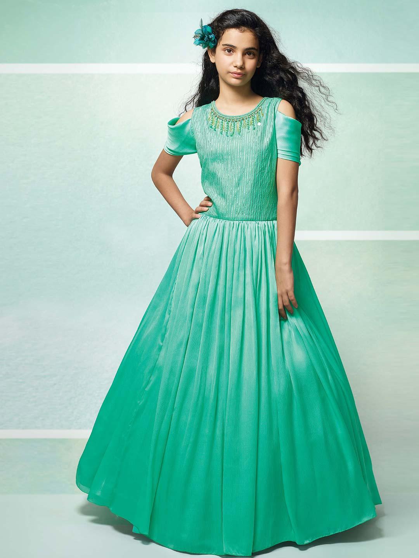 9e9a93ea584b70 Sea green hue designer gown - G3-GGO0448 | G3fashion.com