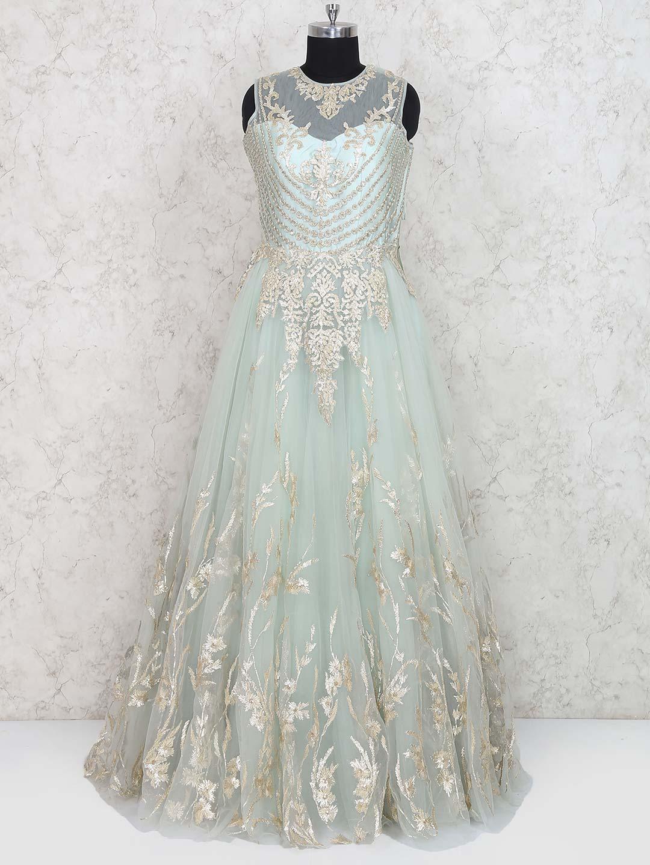 Sea Green Net Fabric Floor Length Gown G3 Wgo1413 G3fashion Com