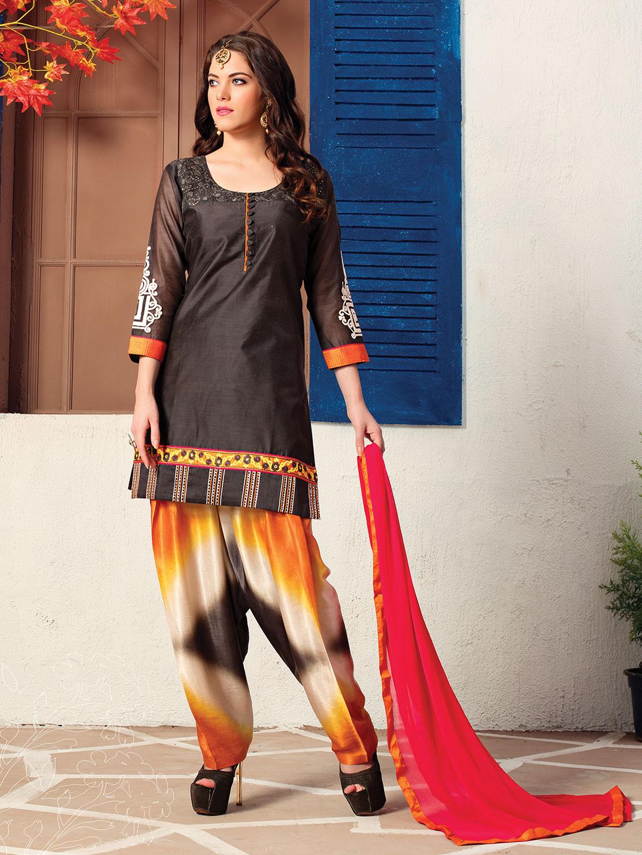 48eba3e36b Simple black cotton silk salwar suit - G3-WSS11857   G3fashion.com