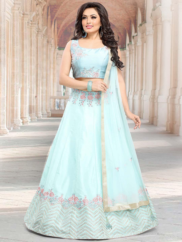 0dfd6970c2 Sky blue hued raw silk fabric lehenga choli - G3-WLC4496   G3fashion ...
