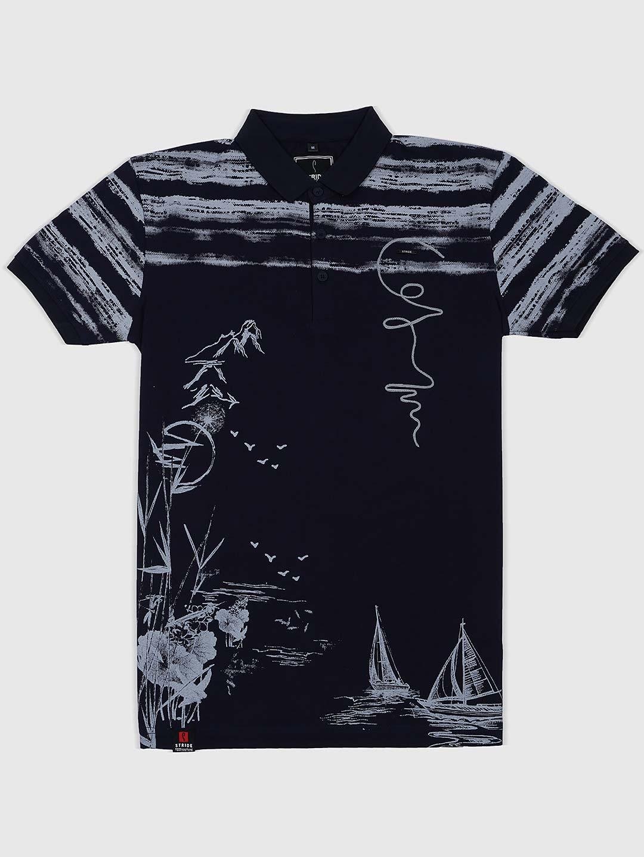 08f36cccf8 Stride navy hued printed half sleeves t-shirt - G3-MTS8945   G3fashion ...