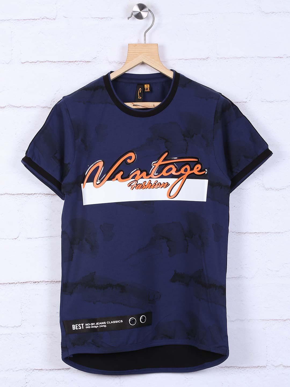 7033b92409 Stride navy hued printed t-shirt - G3-BTS1868   G3fashion.com
