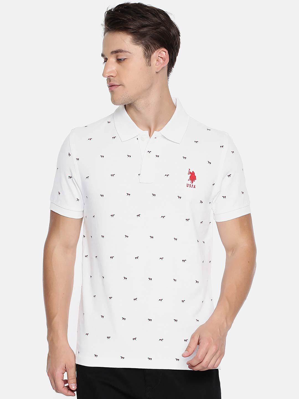 5626dd21e U S Polo printed pattern white t-shirt - G3-MTS7877 | G3fashion.com
