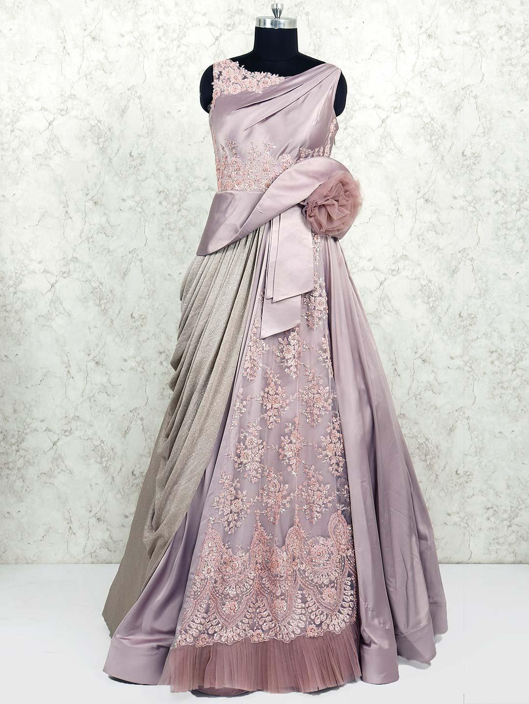 Violet Wedding Wear Satin Fabric Gown G3 Wgo1445 G3fashion