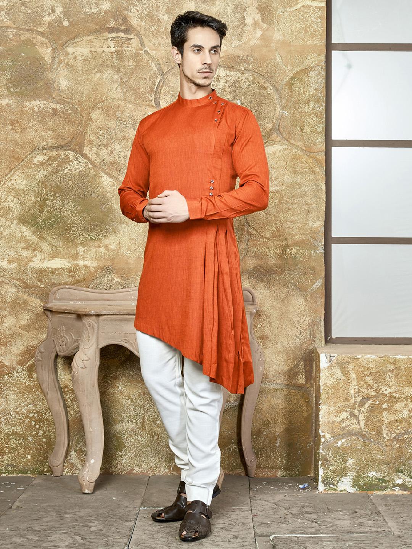 Wedding Wear Bright Orange Kurta Suit G3 Mks0672 G3fashion Com