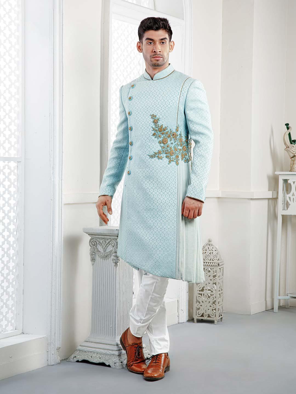 Wedding Wear Sky Blue Designer Indo Western G3 Miw5881