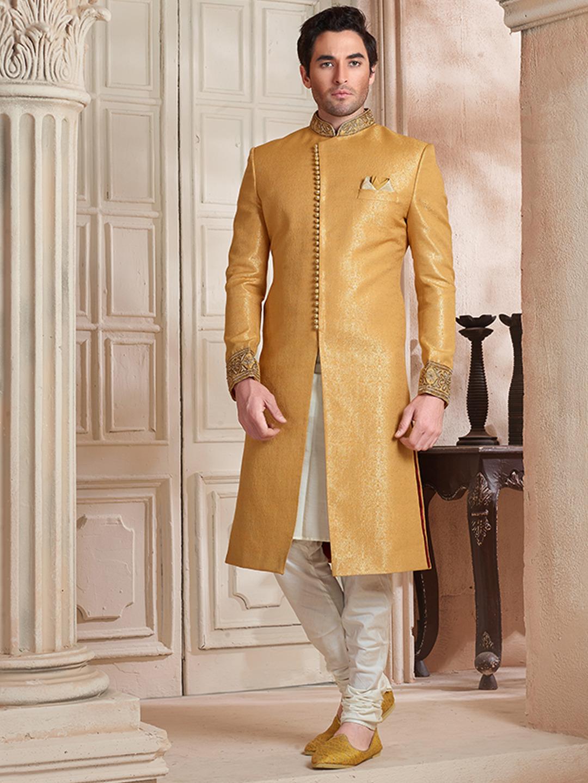 e2a9749c3b Yellow designer wedding wear sherwani - G3-MSH0146 | G3fashion ...